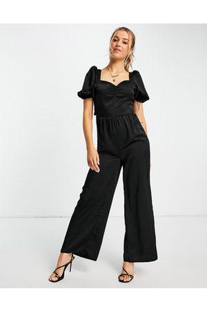 Miss Selfridge Satin ruched bust jumpsuit in black