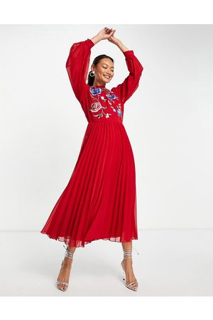 ASOS High neck pleated long sleeve skater midi dress with embroidery in deep red