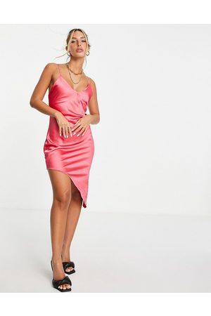 Flounce London Asymmetric satin midi slip dress in pink-Green