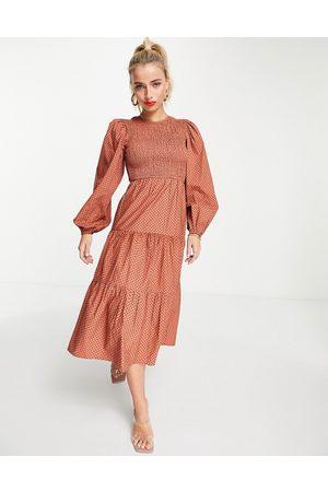Influence Cotton poplin tiered midi dress in rust polka dot