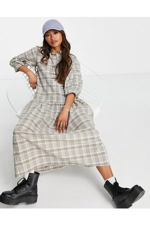 ASOS Button though shirt midi smock dress in brown white check-Multi