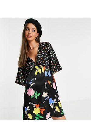 Topshop Damen Freizeitkleider - Tall mix floral print mini dress in multi