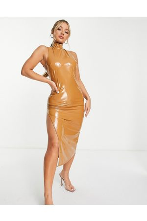 First Distraction The label vinyl midi dress in light brown
