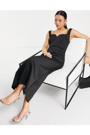 Jarlo Damen Freizeitkleider - Piper midi dress with square neck in black