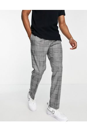 River Island Pleated slim check suit trousers in grey