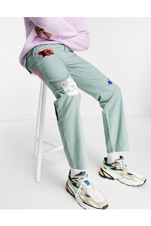 Rip N Dip RIPNDIP play date twill embroidered trousers in green-Grey