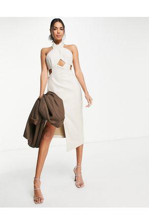 ASOS Cross front tailored pencil midi dress-Neutral