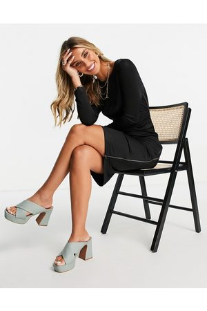 French Connection Sonike midi long sleeve dress with knot waist detail in black