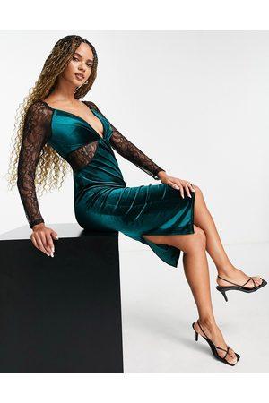 ASOS Lace sleeve velvet bodycon midi dress in bottle green