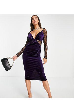 ASOS ASOS DESIGN Tall lace sleeve velvet bodycon midi dress in purple