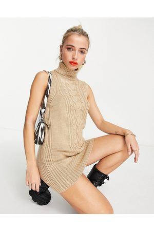 Miss Selfridge Sleeveless midi dress in cable knit in camel-Neutral