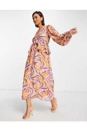 Never Fully Dressed Frill midi dress in retro swirl print-Purple
