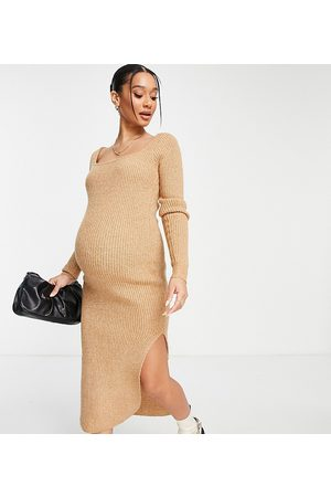 ASOS ASOS DESIGN Maternity ribbed midi dress with square neck in camel-Neutral