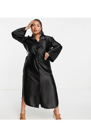 ASOS ASOS DESIGN Curve wide sleeve satin belted midi shirt dress in black