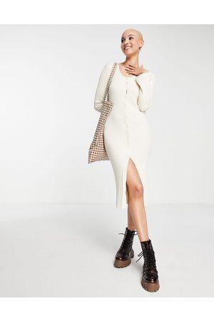 Monki Rib knit button through midi dress in off white
