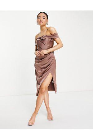 Jarlo Royalty midi dress with side split and bardot shoulder in mink-Pink