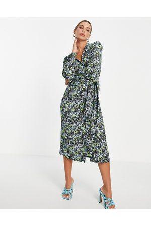 River Island Floral wrap midi dress in green