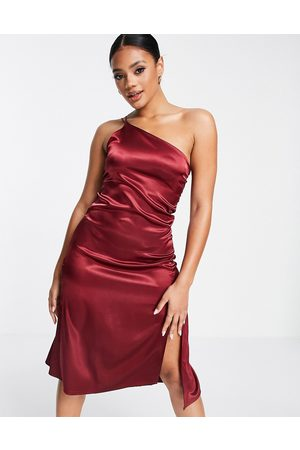 Femme Luxe One shoulder strappy front spilt satin midi dress in deep berry-Red