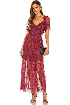 Free People Dear Jane Lace Midi Dress in - Red. Size 0 (also in 2, 4).