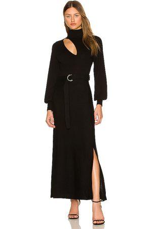 NICHOLAS Damen Midikleider - Aga Knit Mock Neck Long Sleeve Midi Dress with Cutout & Belt in - . Size M (also in S, XS).