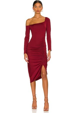 ASTR Off the Shoulder Midi Dress in - Burgundy. Size M (also in S, XS).
