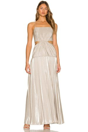 JONATHAN SIMKHAI Daisy Pleated Maxi Dress in - Neutral. Size 2 (also in 4).