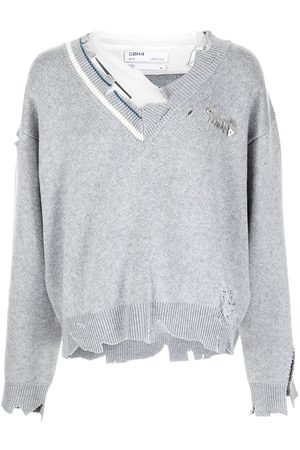 C2H4 Distressed-knit layered sweater