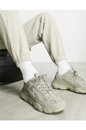 ASOS Trainers in khaki faux suede with chunky sole-Green