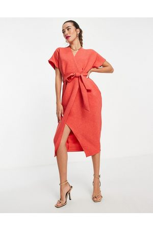 Closet Wrap tie midi dress in red