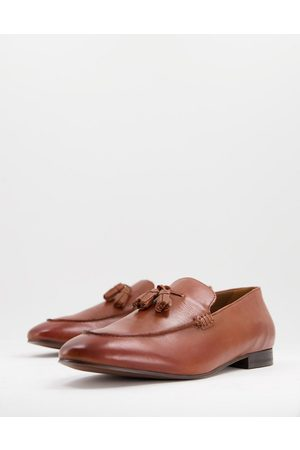 H by Hudson Bolton Tassel Loafers in tan leather-Brown