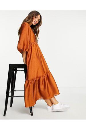 In wear InWear Yiva tiered smock midi dress in gold-Brown